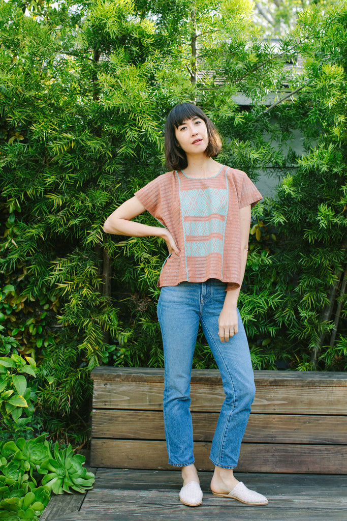 FRANCISCA CROP TOP // TAUPE WITH MINT