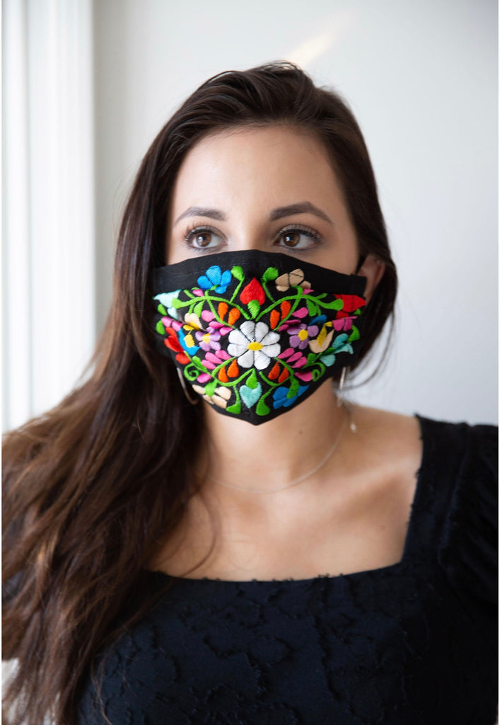 FLORAL FACE MASK / HAND EMBROIDERED