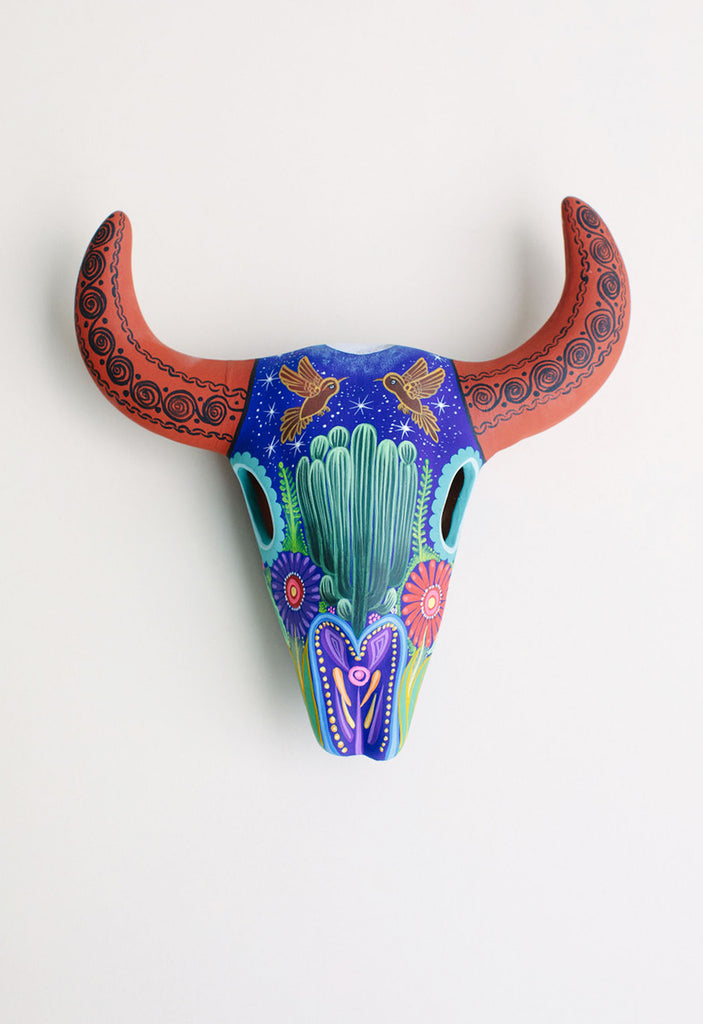 PAINTED CERAMIC SKULL // TERRACOTTA