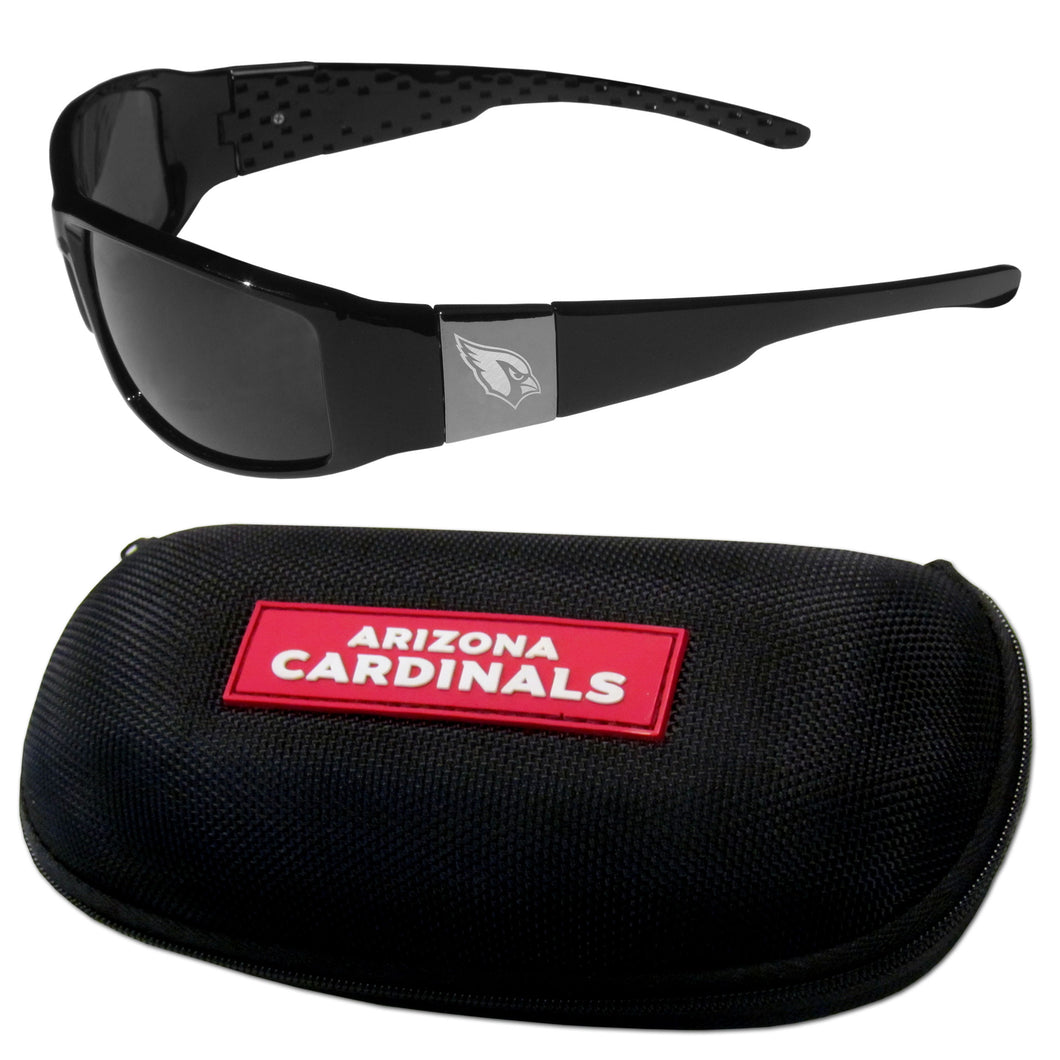 Arizona Cardinals Chrome Wrap Sunglasses and Zippered Carrying Case