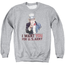 Crewneck Sweatshirt Athletic Heather - Army-I Want You - Adult