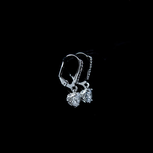 18K White Gold Plated Zircon Crystal Earrings