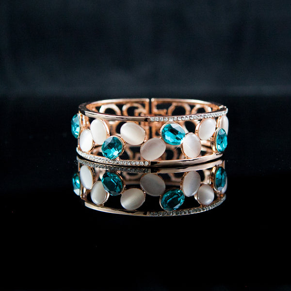 Rose Gold Rhinestone Cuff Bangle Bracelet