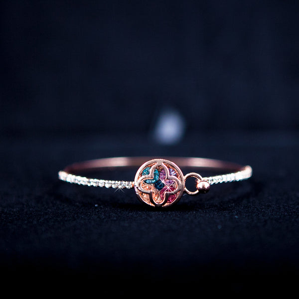 Rose Gold Multi Color Crystal Bangle Bracelet