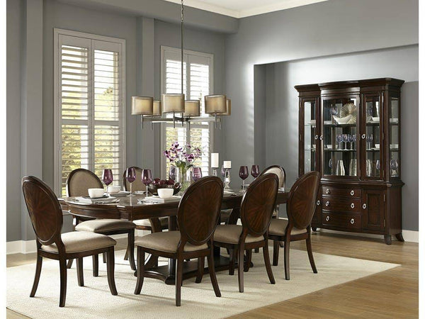 Rich Brown Cherry Finish Dining w/ Oval wood-backed Chairs