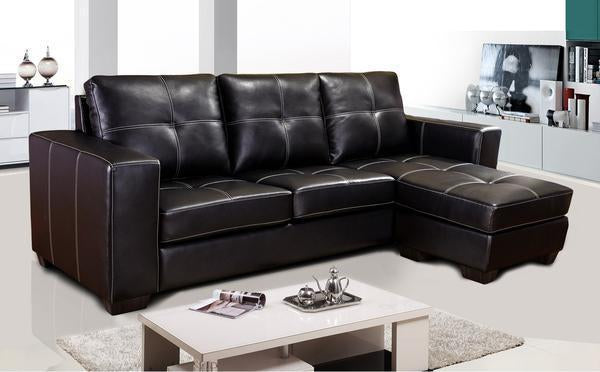 Brown / Black Bonded Leather sectional with Contrast Stitching and Reversible ottoman