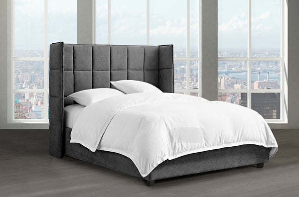 Contemporary Canadian Made Bed with Large Over-Tufted Panels and Matching Tufted Wings