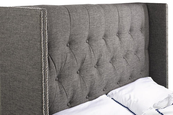 The prefect bed with a Modern Wing-back Headboard Design