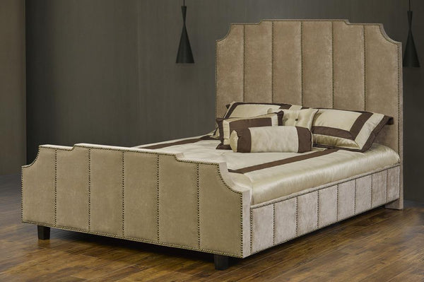 Deep Tufted Bed with hand-applied nail head trim