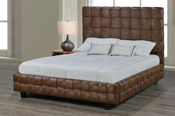 Unique Bed with Basket Weave Pattern Available in Different Fabrics and Colors