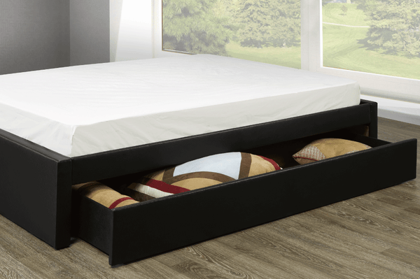 Customizable Platform Bed Includes Side Drawer Or Trundle Compatible with Other Headboards