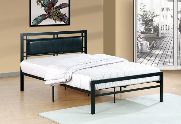 Black Metal platform bed - leatherette headboard