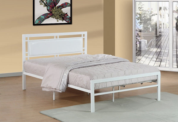White Metal platform bed - leatherette headboard