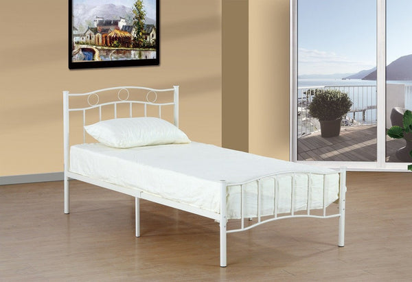 White Metal Platform bed