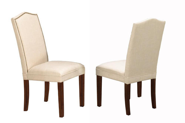 Beige Linen-Fabric Parson dining chair with brass nailheads