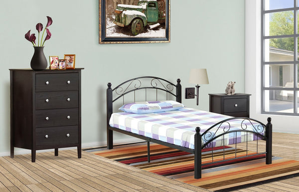 Metal Platform bed - wooden posts