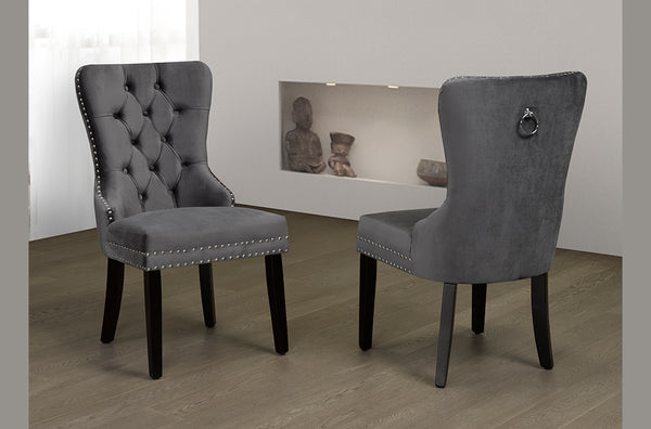 Grey Velvet-Style Fabric Dining Chair with Unique Accents