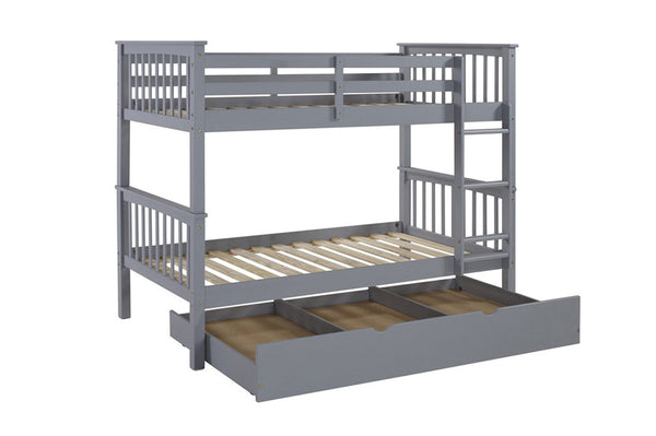 Grey Twin/Twin Split-able Solid wood bunk bed