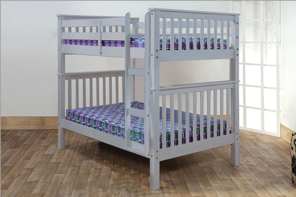 Grey Double/Double Solid Wood Bunk Bed