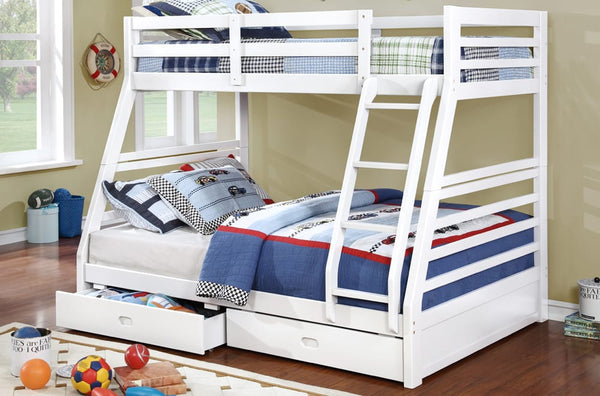 White Twin/Double Solid Wood Bunk bed with 2 Drawers