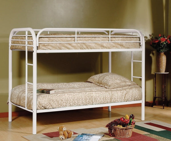 Space Saving White Twin/Twin Steel Paltform Bunkbed