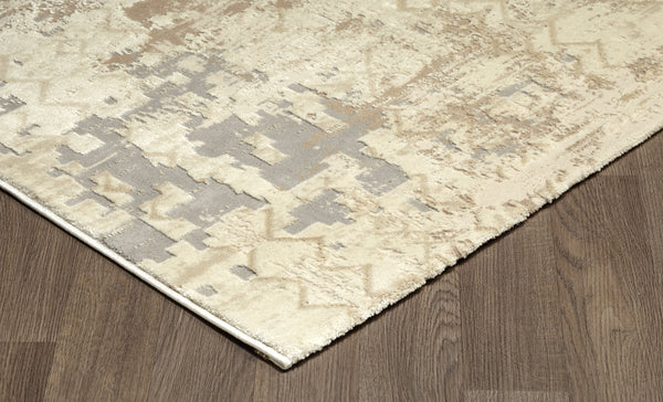 Dark Grey Cream Textured Abstract Rug