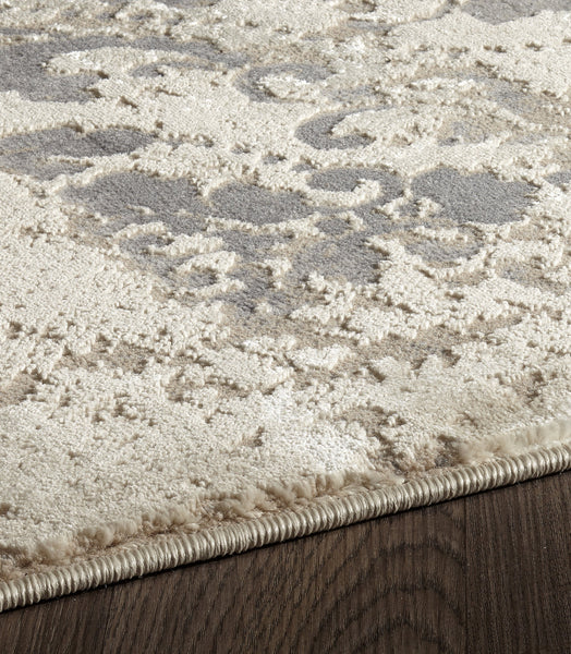 Beige Dark Grey Textured Traditional Rug