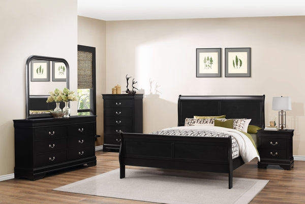 BEVERLY HILLS Bedroom set with Black Finish Sleigh Bed