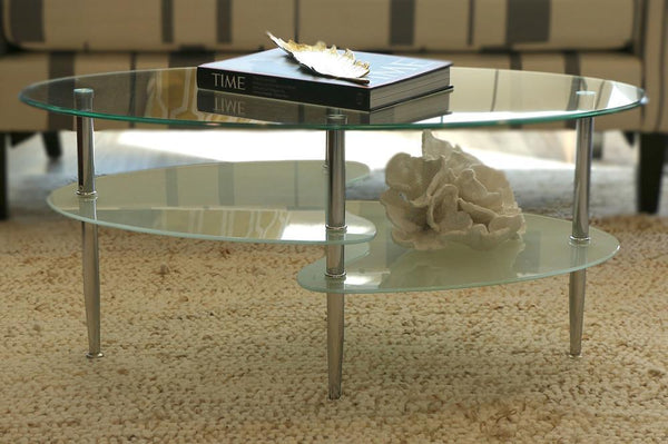 Oval Shape Glass top Coffee table