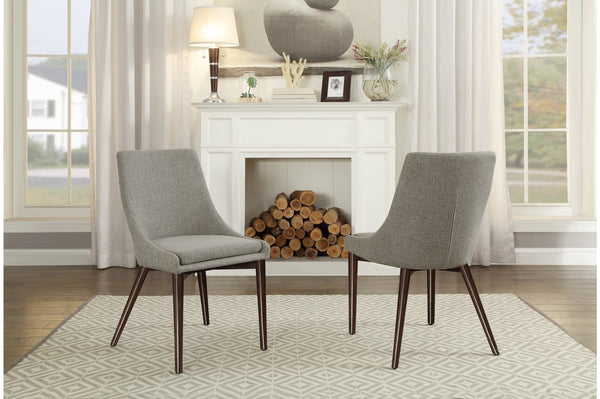 Ultra-modern Dining Chair in Grey Fabric W/ Oak Legs
