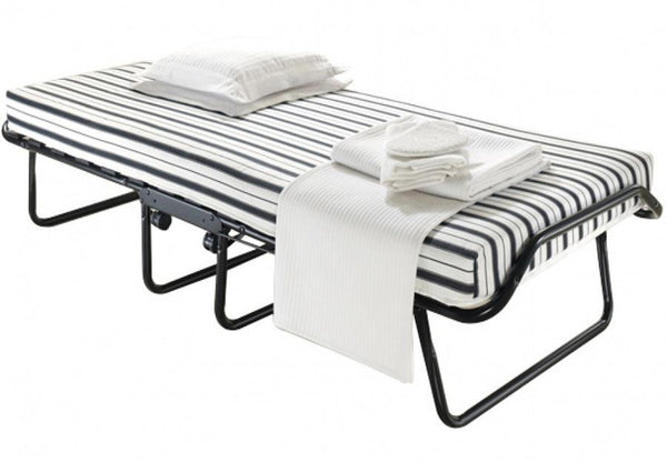 "Space Saving Black Steel Roll-Away Bed with 4"" Thick Foam Mattress"