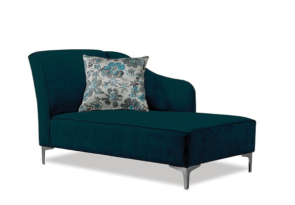 Swooping Velvet-Style Fabric Bench with Chrome Legs and matching accent pillow