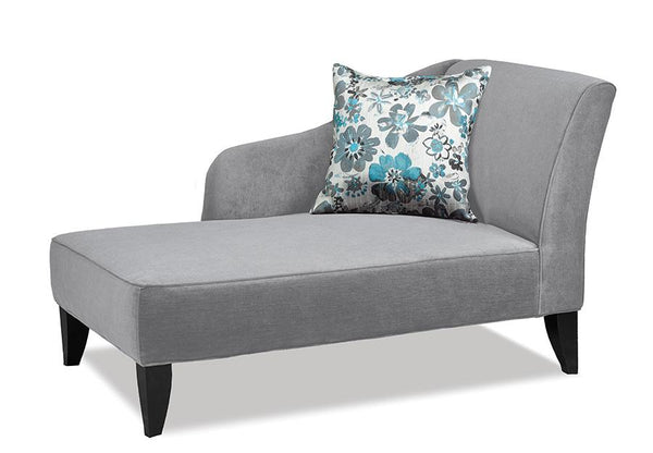 Swooping Velvet-Style Fabric Chaise with matching accent pillow