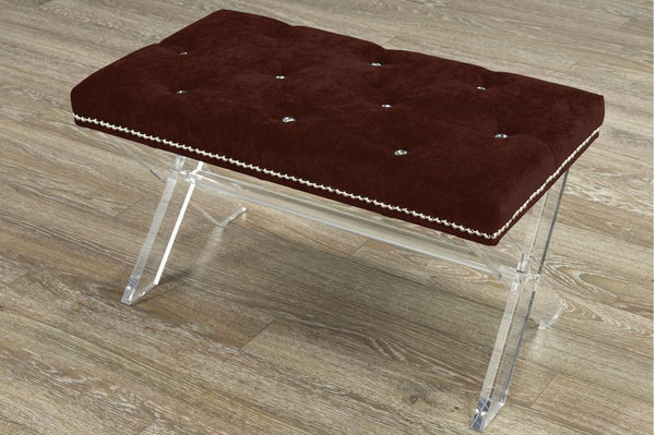 Accent Bench in X-Style Acrylic Legs with Buttons or Crystals Inlays