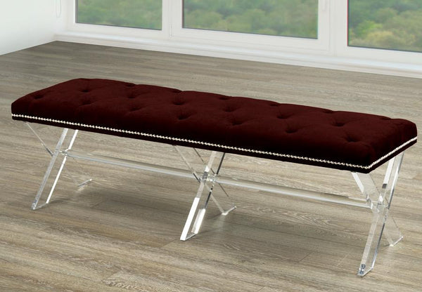 Extra-Wide Accent Bench in X-Style Acrylic Legs with Choice of Buttons or Crystals Inlays