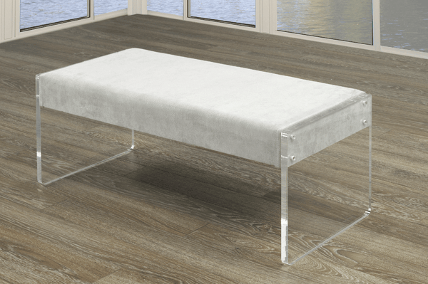 Extra-Wide Contemporary Bench with Transparent Acrylic Legs