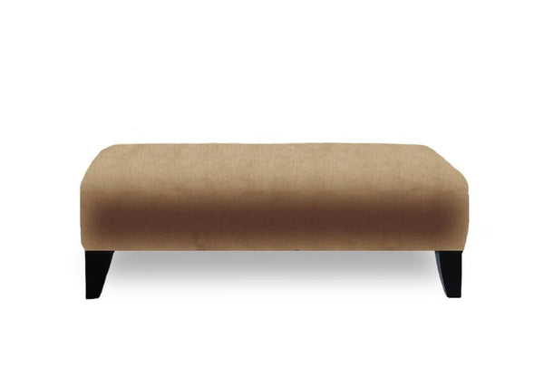 Traditional Ottoman in Velvet-Style Fabric with Wooden Legs