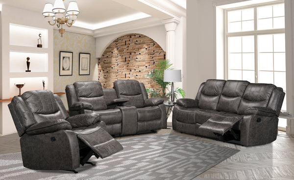 Soft Grey Fabric Reclining Sofa Set Including a Loveseat W/ Console and a Rocker Recliner Chair