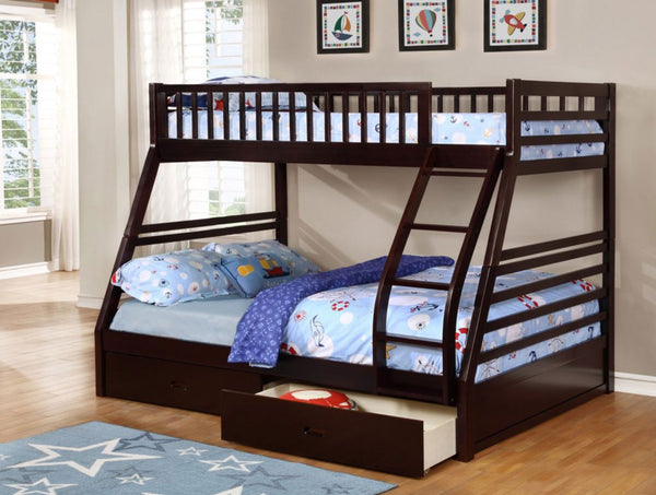 Elegant Espresso Twin/Double Solid Wood Bunk bed with 2 Drawers