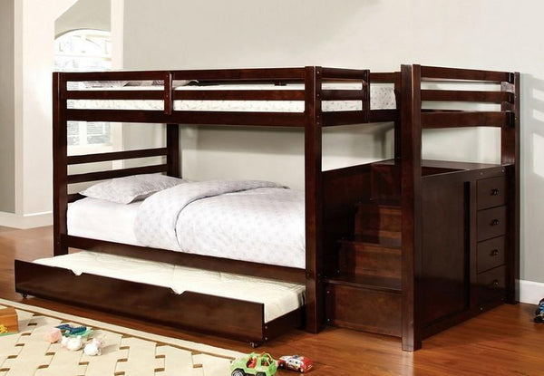 Espresso Single/Single Bunk Bed with 4 Pull-Out Side Storage Drawers