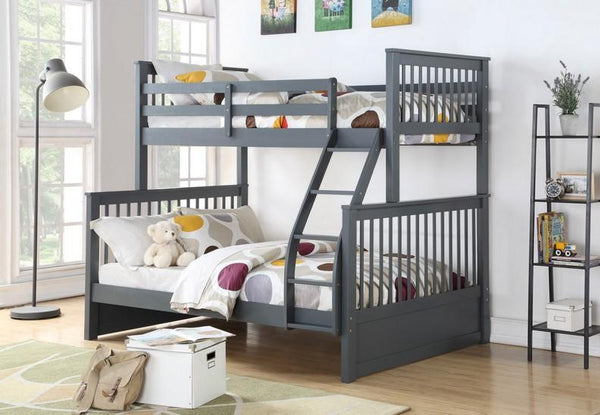Grey Solid Wood Single/Double Bunk Bed Split-able
