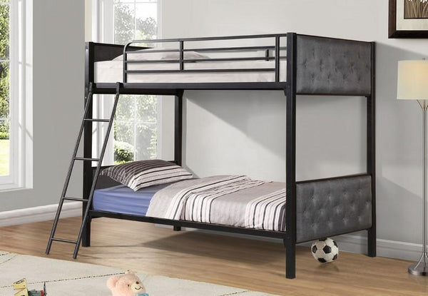 Black Metal Bunk Bed With a Padded Grey Fabric Headboard