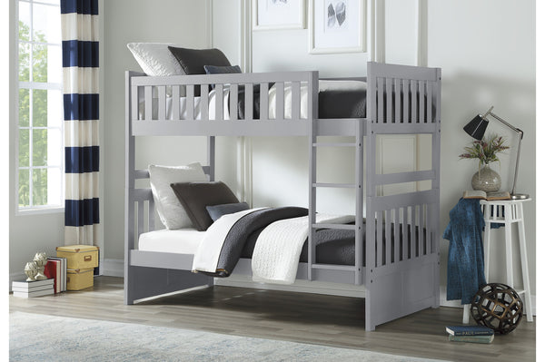 Grey Twin/Twin Solid Wood Bunkbed with Bedroom Furniture Options
