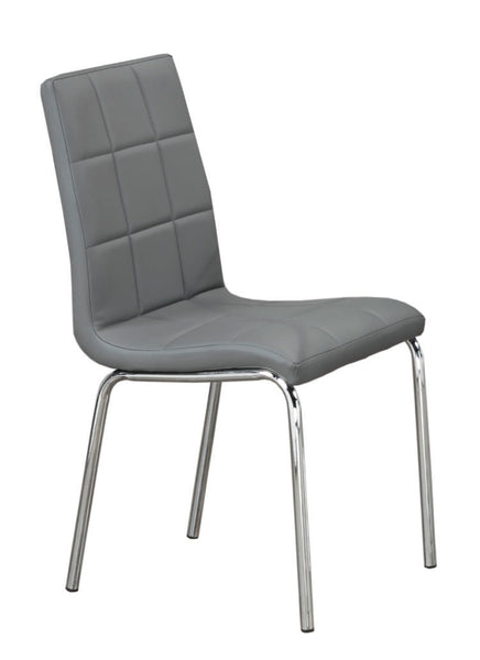 Upholstered Grey Leatherette Checkered Dining Chair