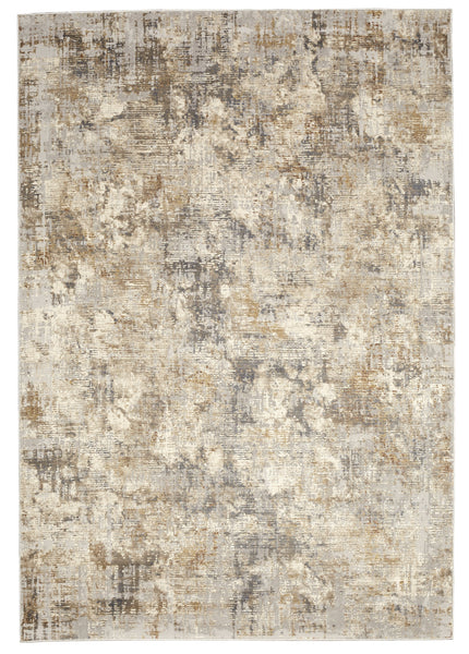 Muted Grey Ivory Distressed Striped Abstract Rug