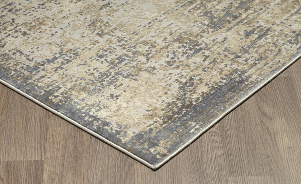 Muted Grey Ivory Distressed Abstract Rug