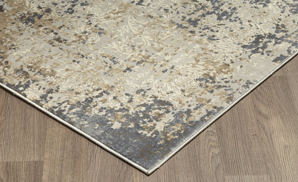 Muted Grey Ivory Medallion Distressed Rug