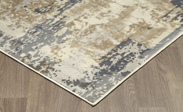 Muted Grey Ivory Distressed Strokes Abstract Rug