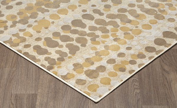 Muted Grey Ivory Dots Abstract Rug