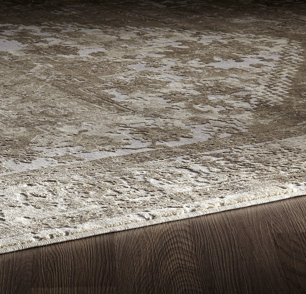 Muted Grey Beige Distressed Medallion Traditional Rug